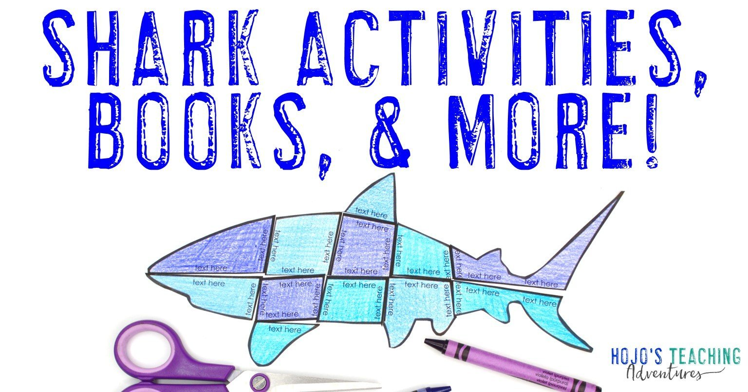 Shark Activities, Books, & MORE with picture of editable shark puzzle