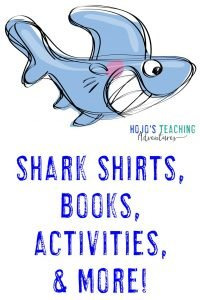 Shark shirts, books, activities, & more - with silly smiling shark clipart