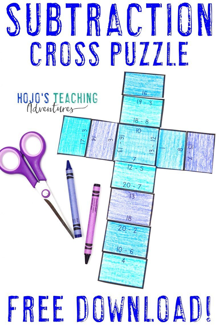 Subtraction Cross Puzzle - Click to get your FREE download!