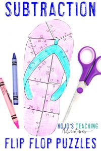 Click to buy your own SUBTRACTION flip flop math activities!