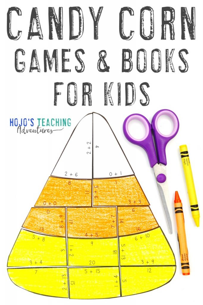 """""""Candy Corn Games & Books for Kids"""" with a multiplication puzzle"""