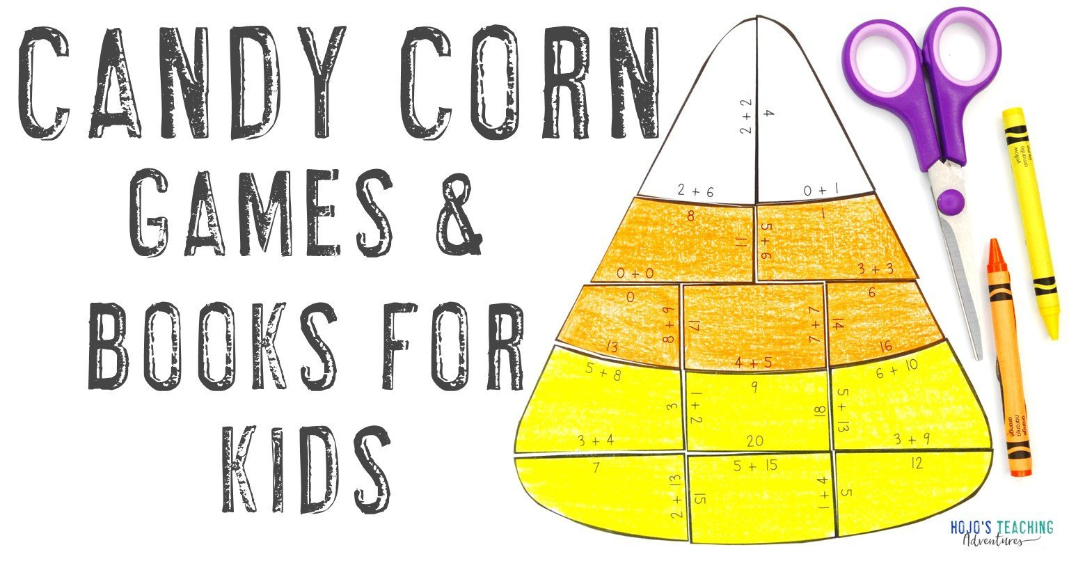 """""""Candy Corn Games & Books for Kids"""" with a multiplication math candy corn puzzle"""