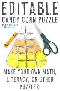 Get your EDITABLE candy corn activities here!