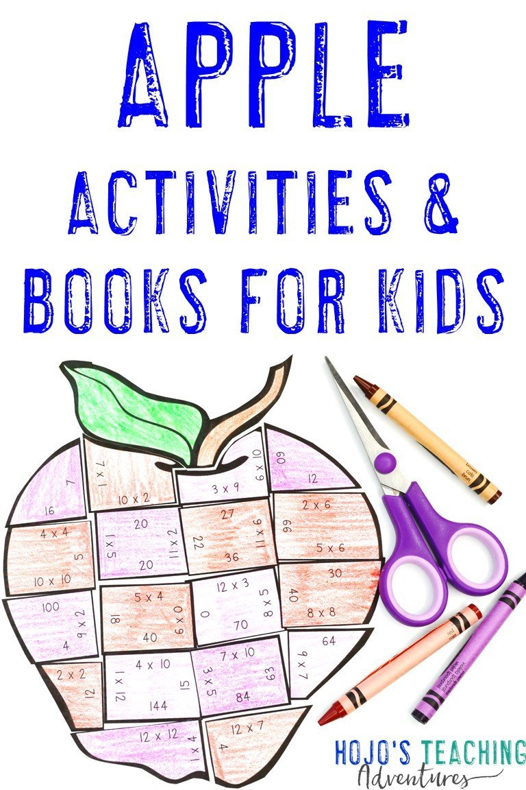 Apple Activities & Books for Kids with a multiplication apple puzzle