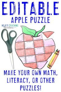 Click to get your own EDITABLE Apple Puzzle to make activities on ANY topic you'd like!