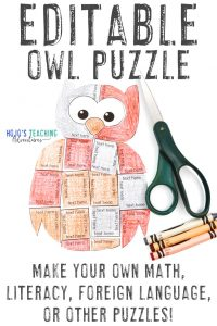Click to buy an EDITABLE owl puzzle now!