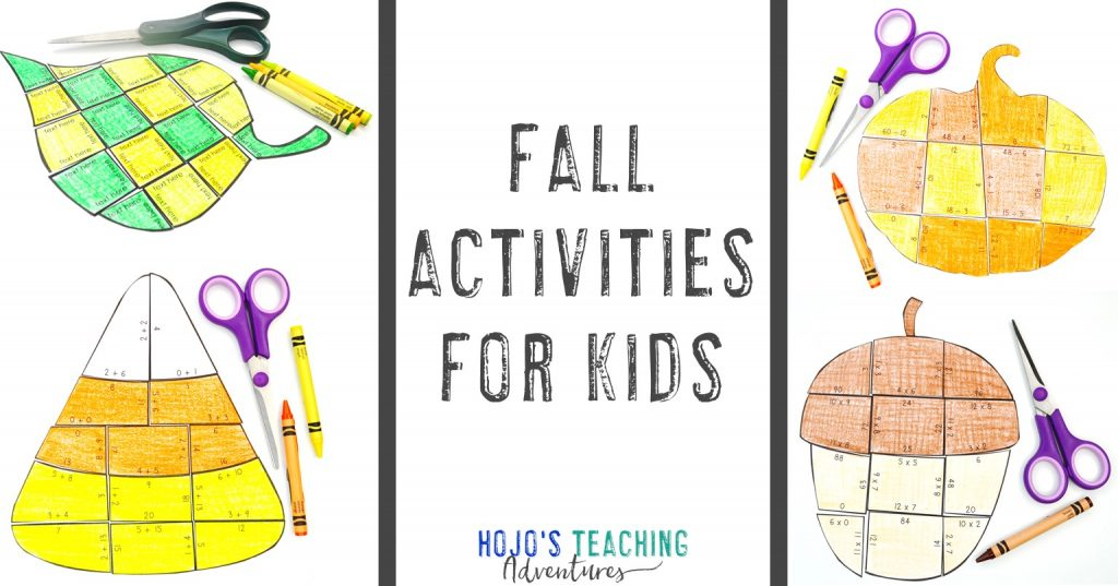 Fall Activities for Kids (with images of leaf, candy corn, pumpkin, & acorn puzzles)