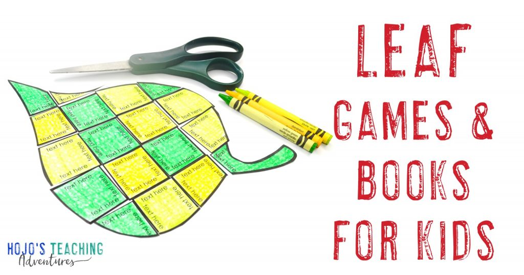 Leaf Games and Books for Kids with an editable leaf puzzle