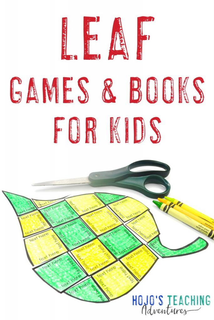 Leaf Games & Books for Kids with an editable leaf puzzle