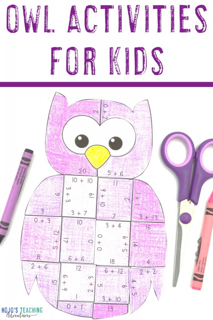 Owl Activities for Kids with purple owl puzzle