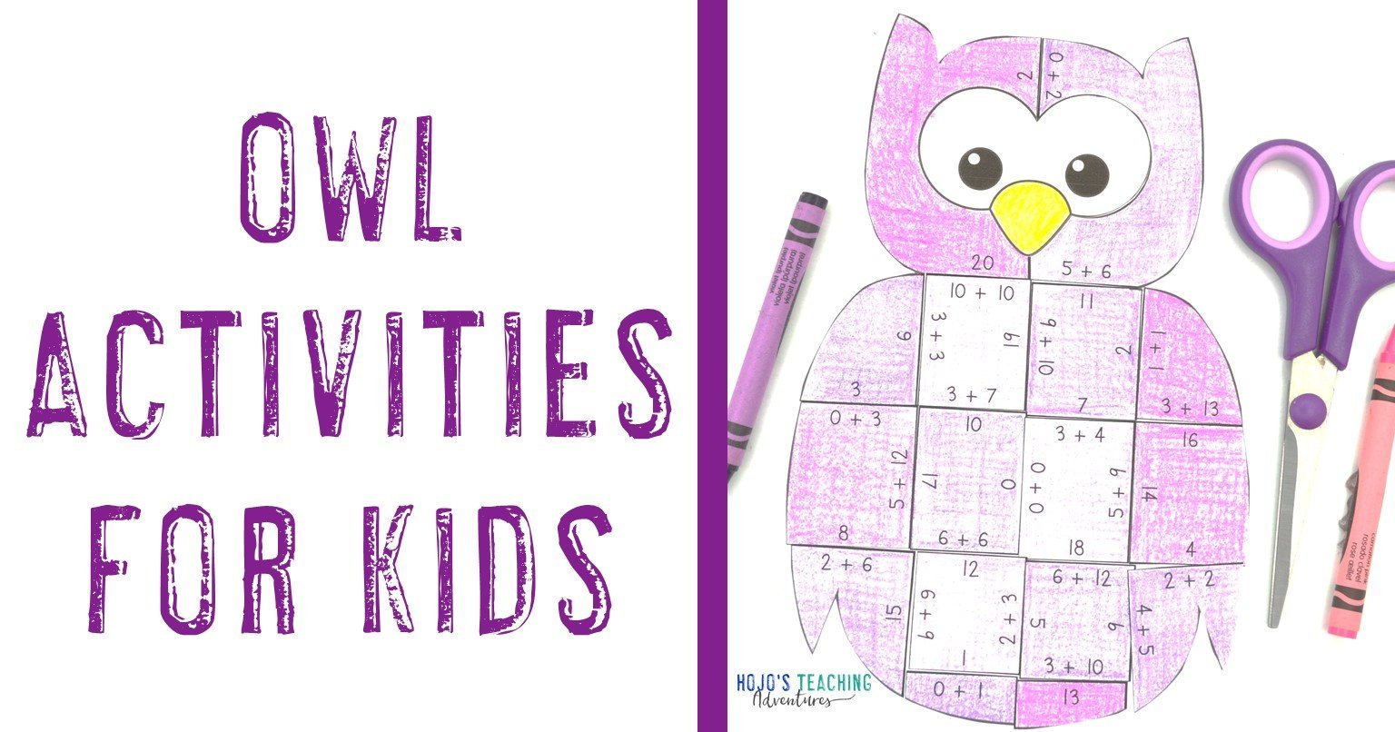Owl Activities for Kids with a purple owl puzzle