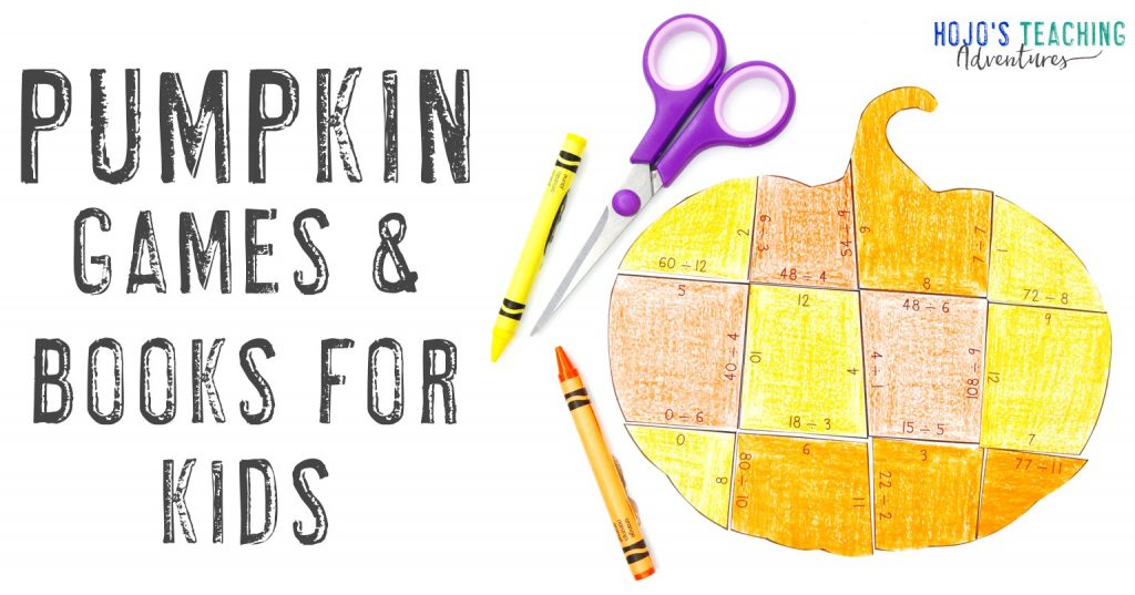 Pumpkin Games & Books for Kids with a colored pumpkin puzzle image