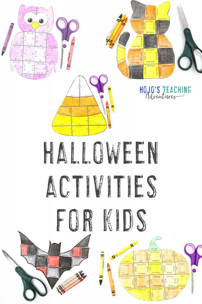 Halloween Activities for Kids with owl, cat, candy corn, bats, and pumpkin puzzles
