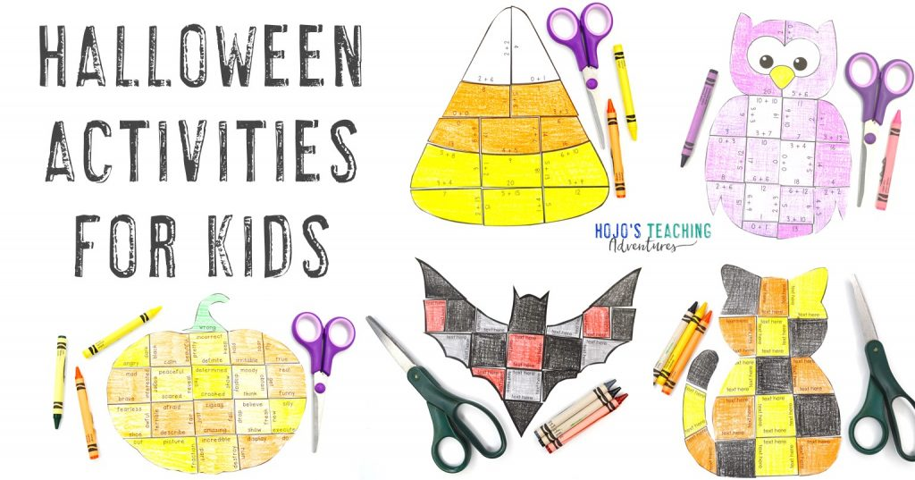 Halloween Activities for Kids with candy corn, bat, cat, owl, and pumpkin puzzles