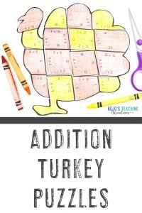 Get your ADDITION turkey math activities now!