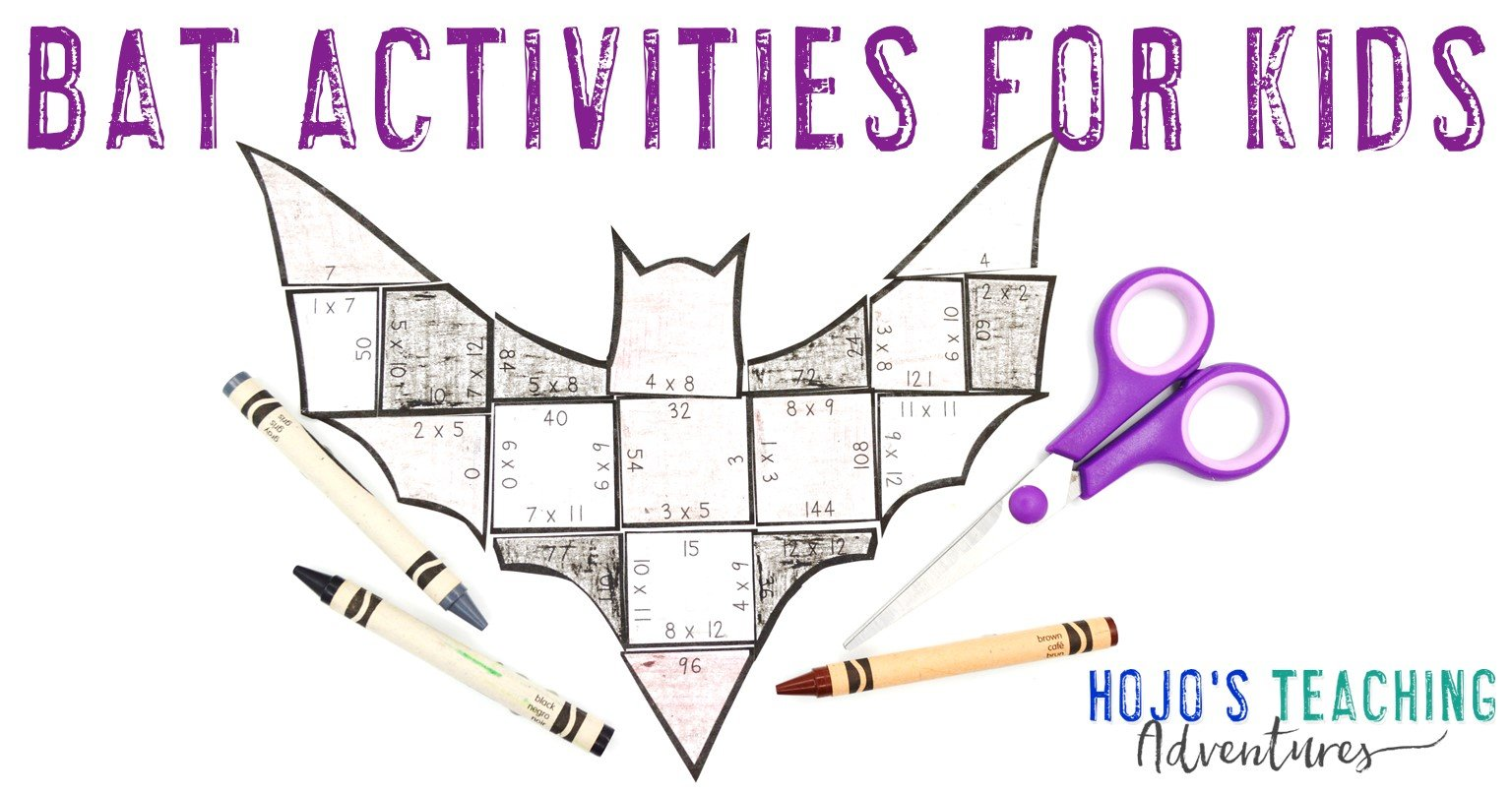 Bat Activities for Kids with a multiplication bat puzzle