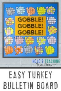 "Easy Turkey Bulletin Board - ""Gobble! Gobble! Gobble!"" with turkey puzzles shown"