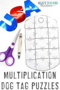 Click to buy your own MULTIPLICATION Dog Tag Puzzles!
