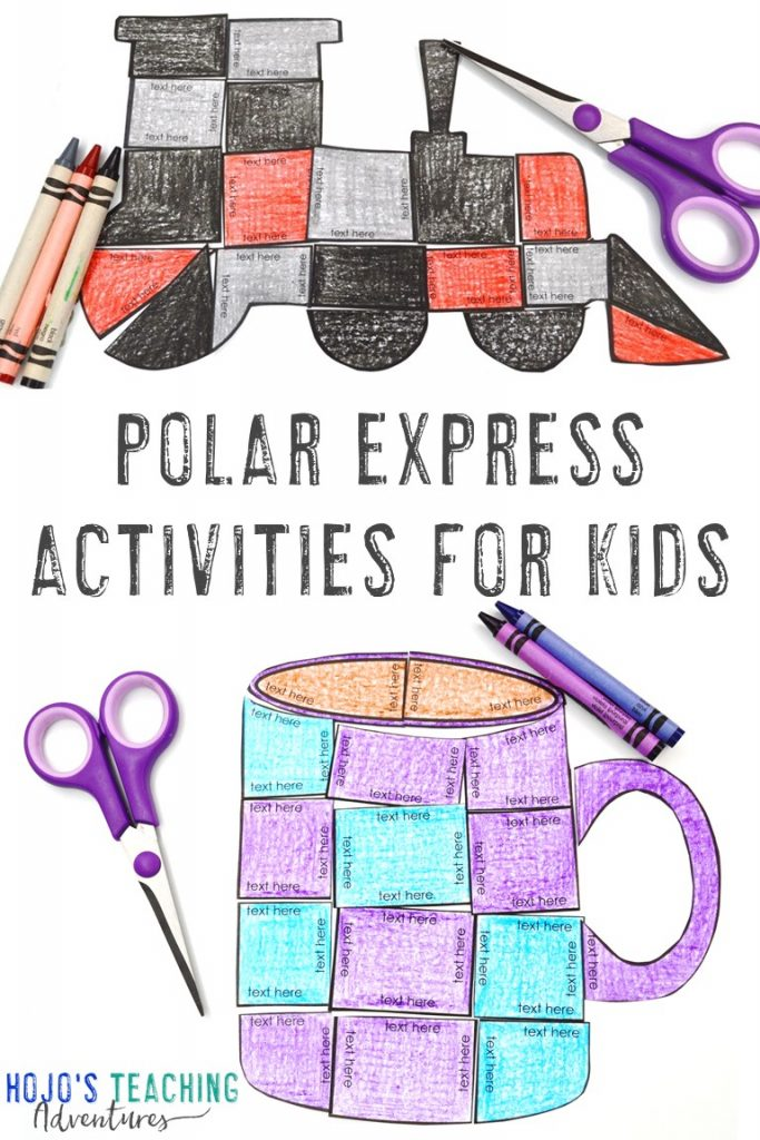 Polar Express Activities for Kids with a train and mug puzzle