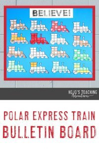 """Polar Express Train Bulletin Board - """"BELIEVE!"""" with multiple train puzzles"""
