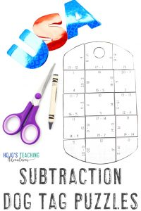 Click to grab your own SUBTRACTION Dog Tag Puzzles now!