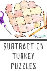 Click to grab your own SUBTRACTION turkey math puzzles!
