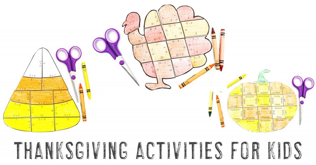 Thanksgiving Activities for Kids - pumpkin, turkey, and candy corn puzzles shown