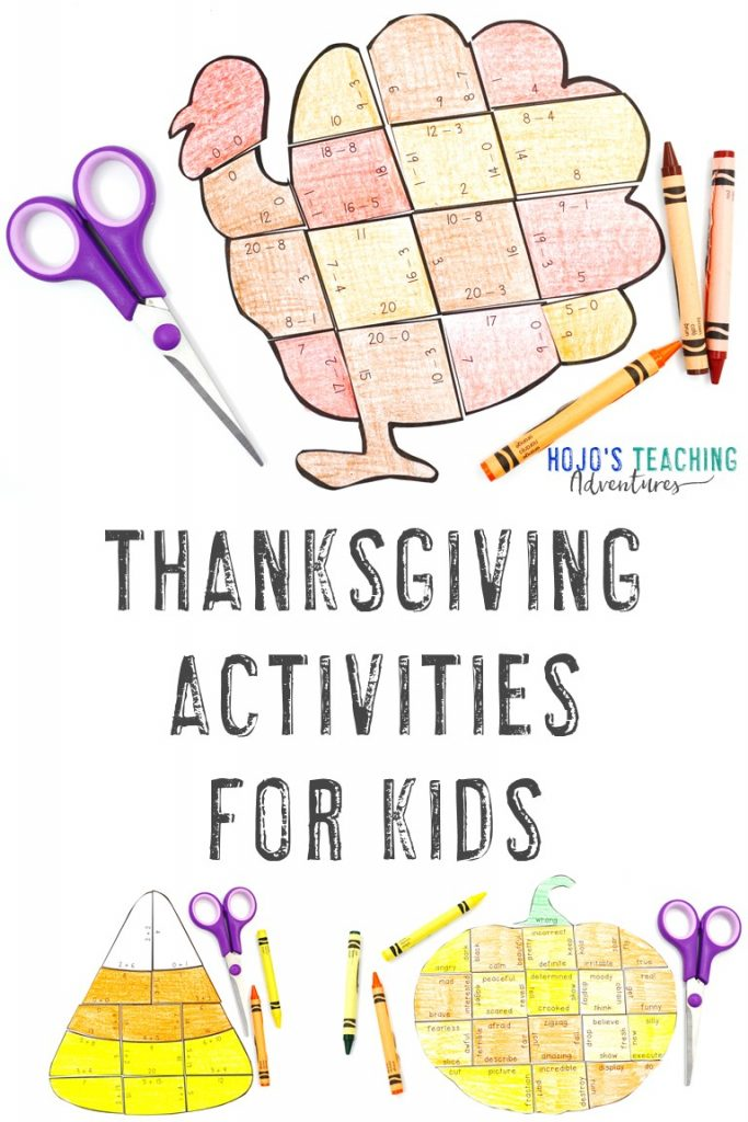 Thanksgiving Activities for Kids with a turkey, candy corn, and pumpkin puzzle shown
