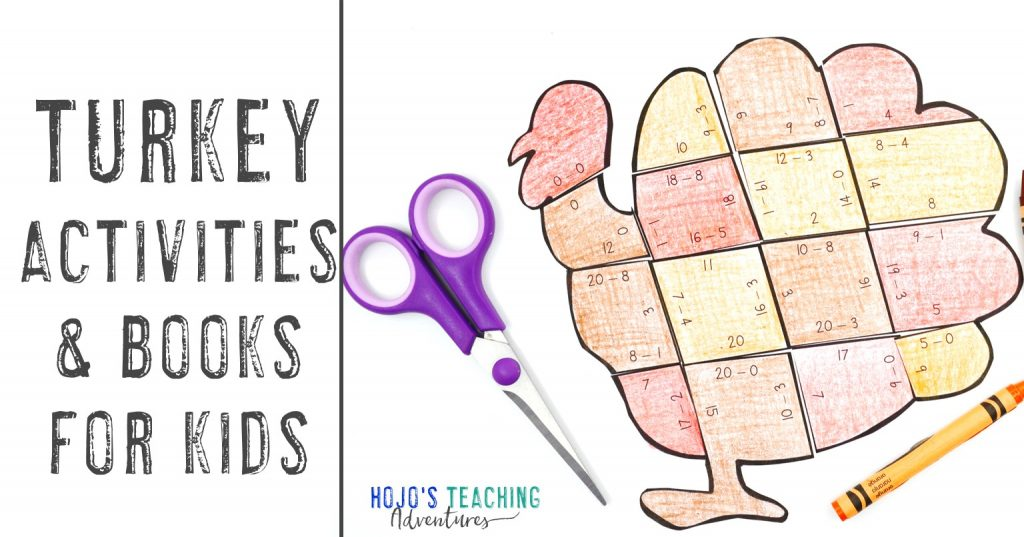 Turkey Activities for Kids with a subtraction turkey puzzles