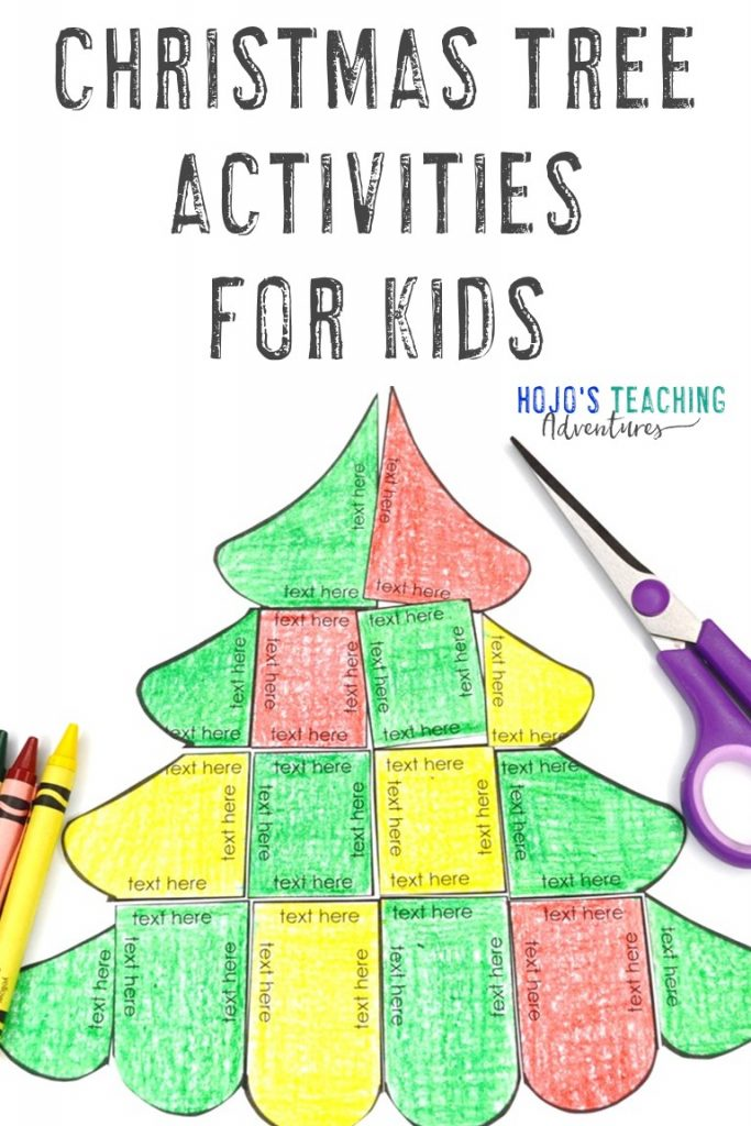 Christmas Tree Activities for Kids with an editable puzzle shown