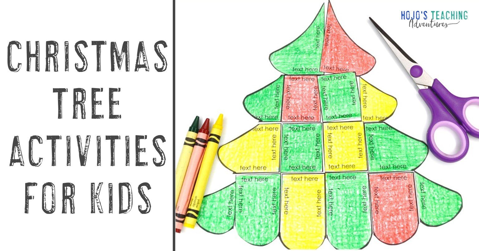 Christmas Tree Activities for Kids with an editable puzzle