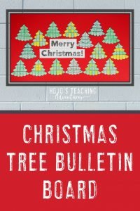 'Merry Christmas!' bulletin board with Christmas trees