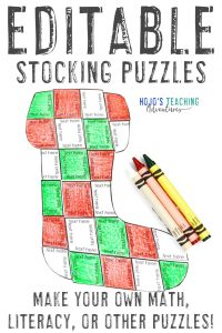 Click to get your own EDITABLE Stocking Activity Puzzles!