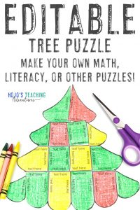 Click to buy an editable Christmas tree puzzle!