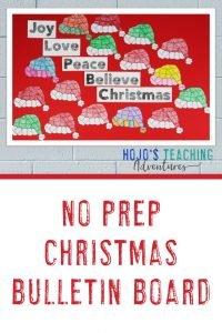 No Prep Christmas Bulletin Board with a santa hat display