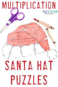 Click to grab your own multiplication santa hat puzzles!