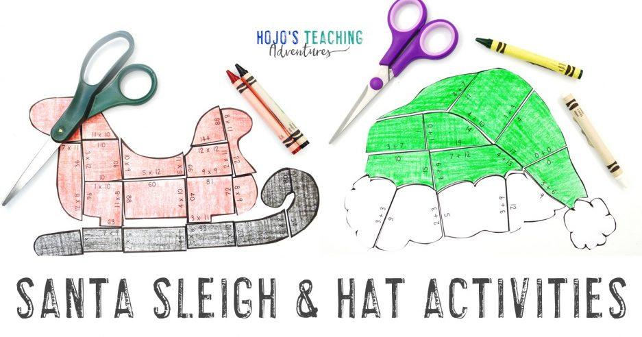 Santa Sleigh & Hat Activities with puzzle pictures of each