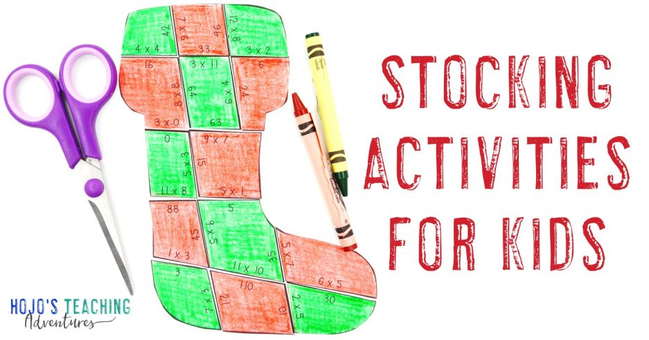 Stocking Activities for Kids with a multiplication stocking puzzle