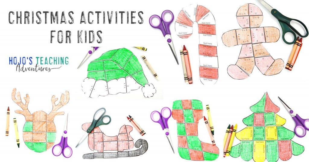 Christmas Activities for Kids with seven different puzzles