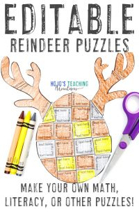 Click to grab your own editable reindeer activities for kids!