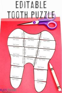 Click here to get your own EDITABLE Dental Health Month tooth puzzle!