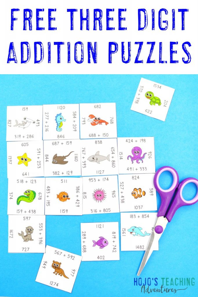 Click to get your FREE Three Digit Addition Magic Square Puzzle