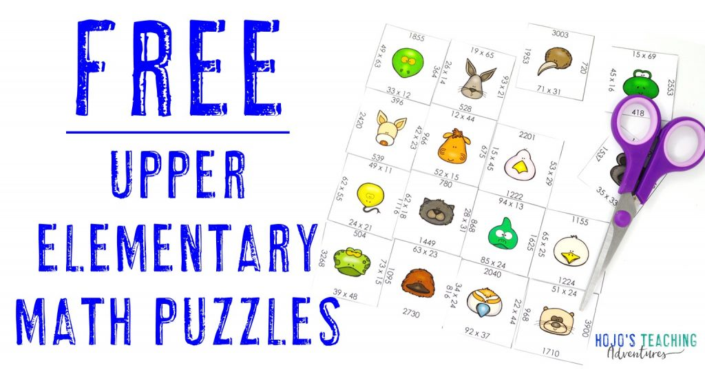 FREE Upper Elementary Math Puzzles with a 2x2 multiplication puzzle shown