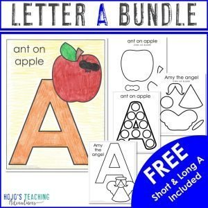 Letter A Bundle - showing various VOWAC worksheets