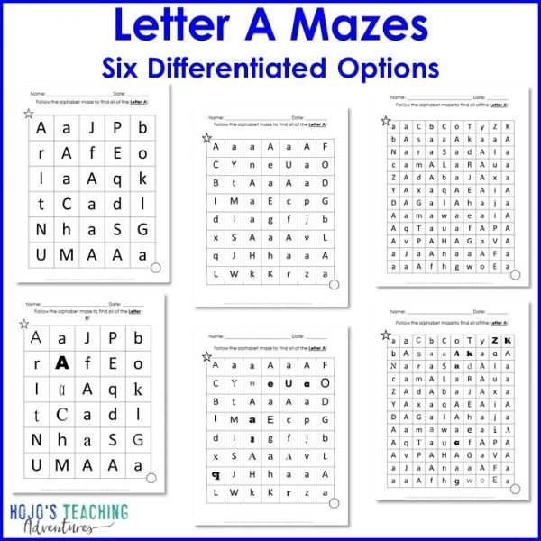 Letter A Mazes with six worksheet options shown
