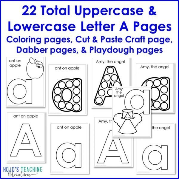 22 total uppercase and lowercase letter A pages