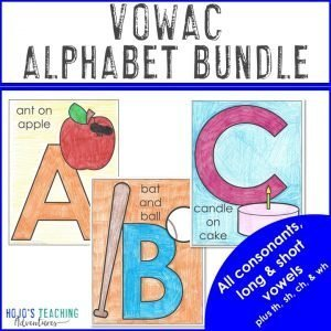 VOWAC Alphabet Bundle - Letter A, B, and C coloring pages shown