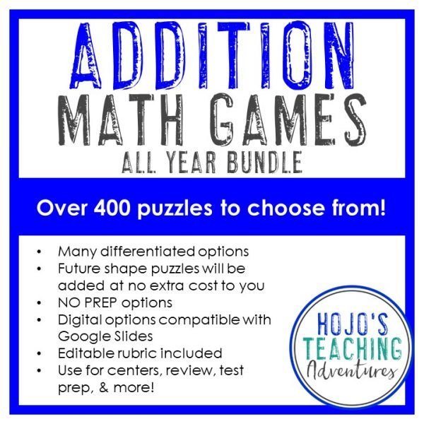 ADDITION Math Games ALL YEAR BUNDLE - 400 puzzles to choose from across 60 shapes