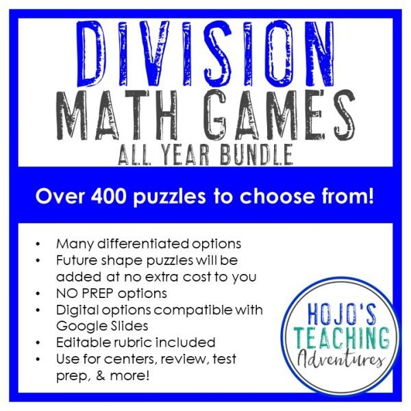 Division Math Games ALL YEAR BUNDLE with 400 puzzles to choose from across 60 shapes!