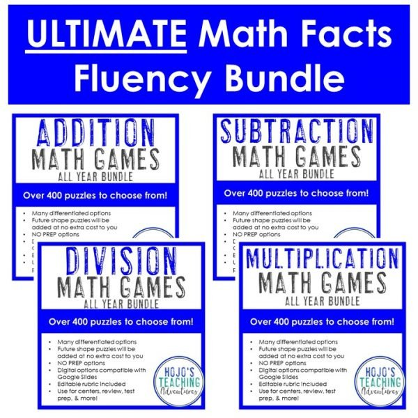 Addition, Subtraction, Division, and Multiplication Bundles included in this ULTIMATE Math Facts Fluency Games Bundle